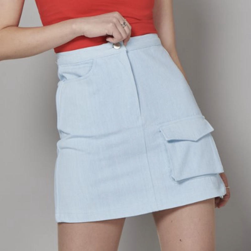 【Fray】FR FLAP POCKET A-LINE SKIRT ICE