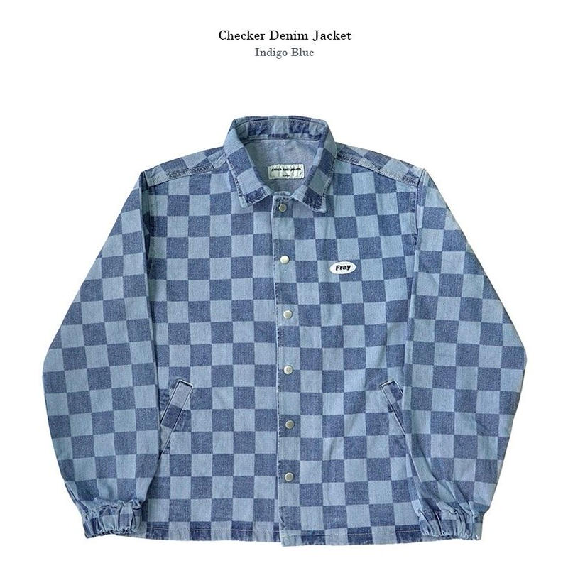 Checker denim jacket