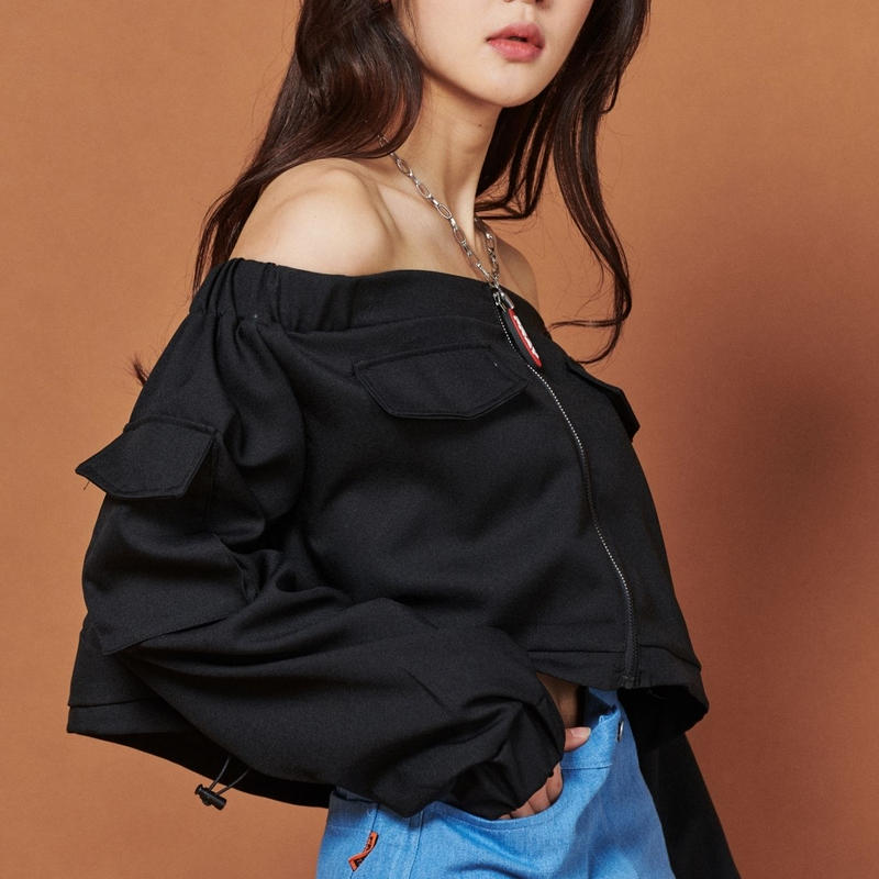 【Fray】FR POCKET OFF SHOULDER TOP BLACK