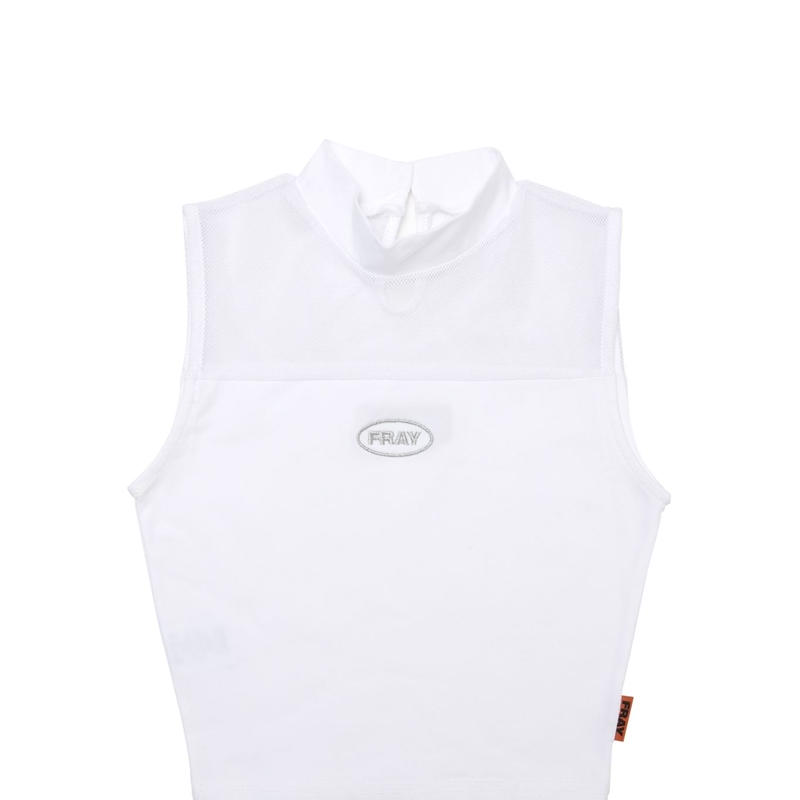 【Fray】FRAY MESH HIGH NECK TOP WHITE