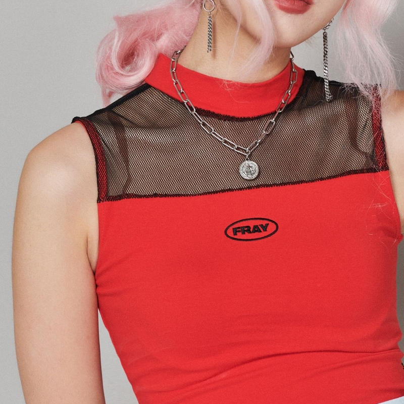 【Fray】FRAY MESH HIGH NECK TOP RED