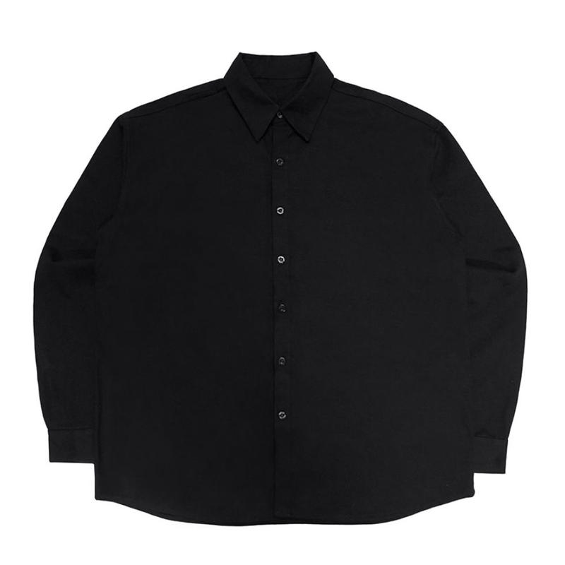 【IMXHB】PLASTIC FACE OVERSIZED SHIRTS - BLACK