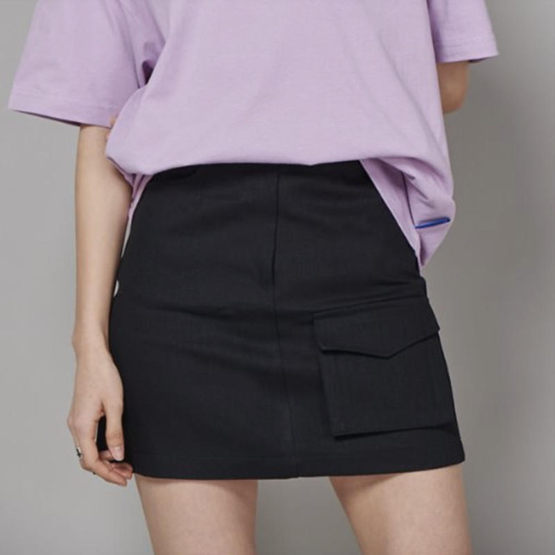 【Fray】FR FLAP POCKET A-LINE SKIRT BLACK