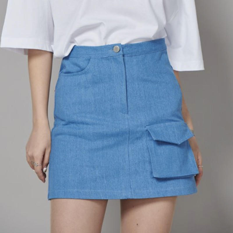 【Fray】FR FLAP POCKET A-LINE SKIRT BLUE