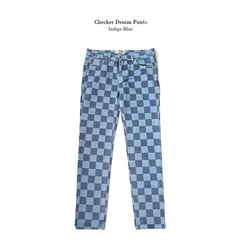 Checker denim pants