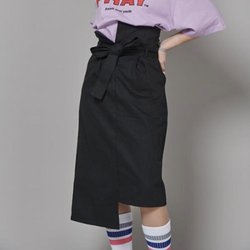 【Fray】FR UNBALANCE HIGH WAIST SKIRT BLACK