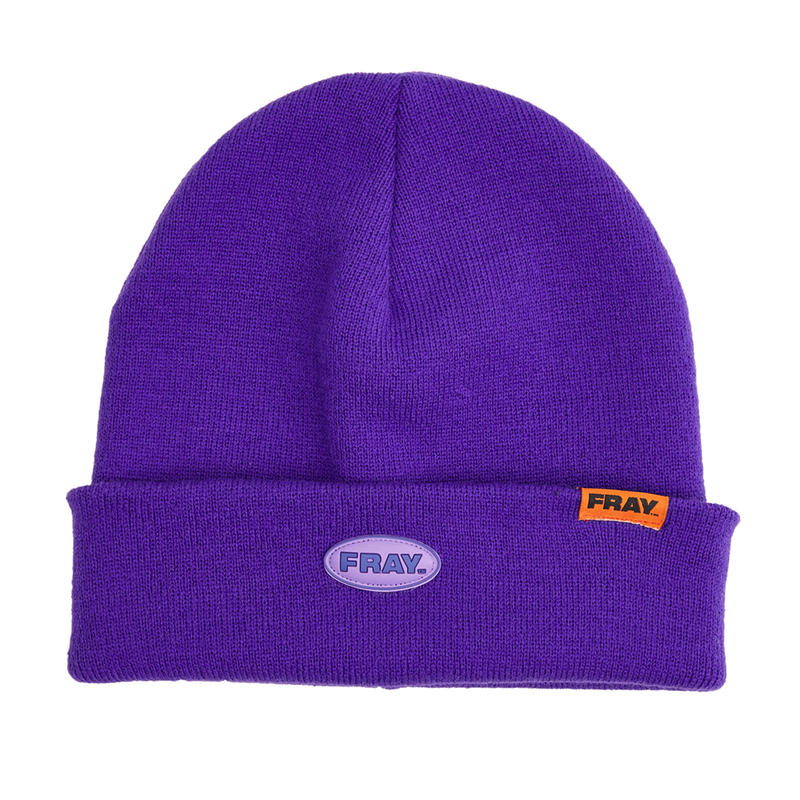 FRAY BEANIE  WHITE PURPLE