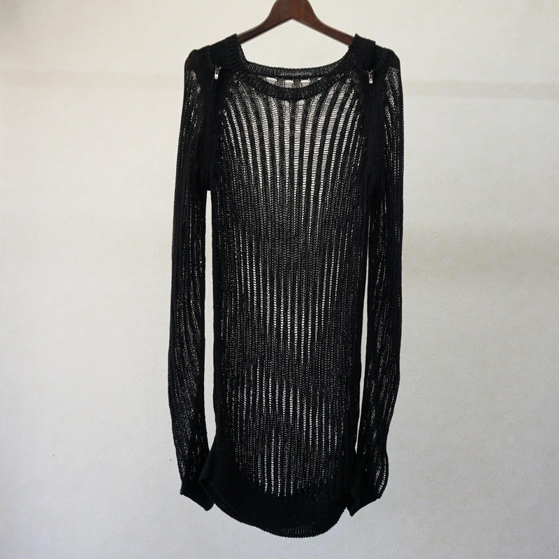 DRESSEDUNDRESSED MULTI ZIP SHREDDED KNIT TOPS