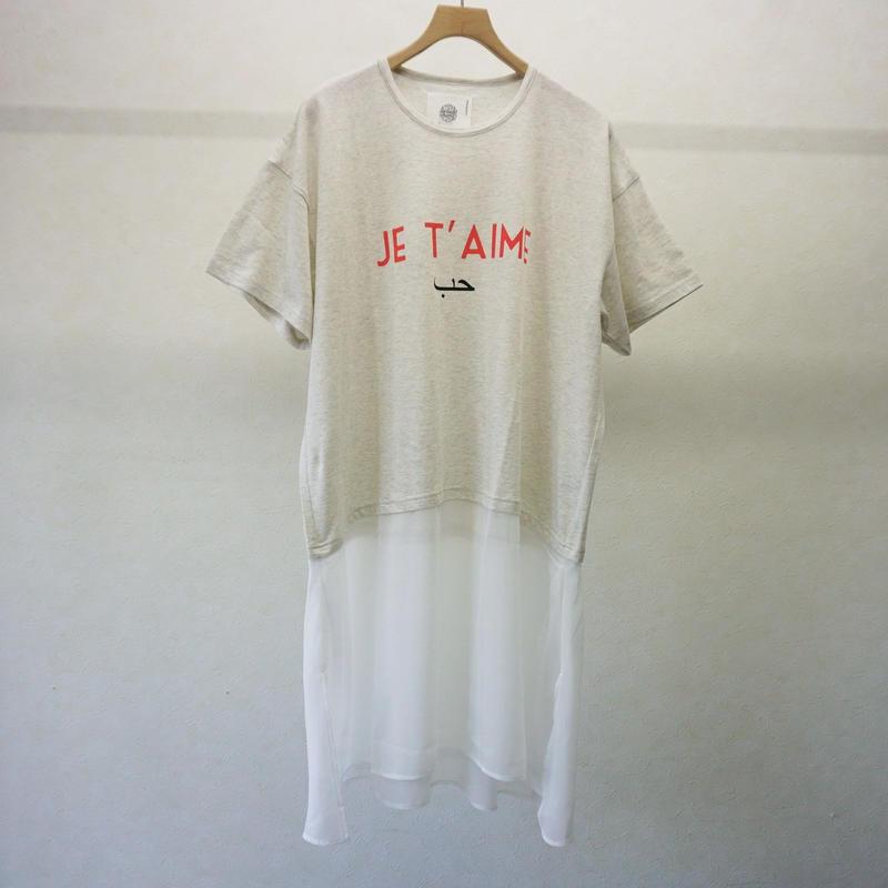 bedsidedrama ジュテームベールTシャツ(OATMEAL)
