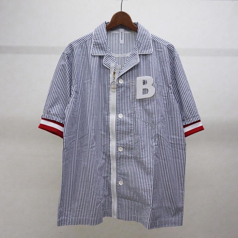 bodysong. BS18048 PJMS ストライプ半袖シャツ