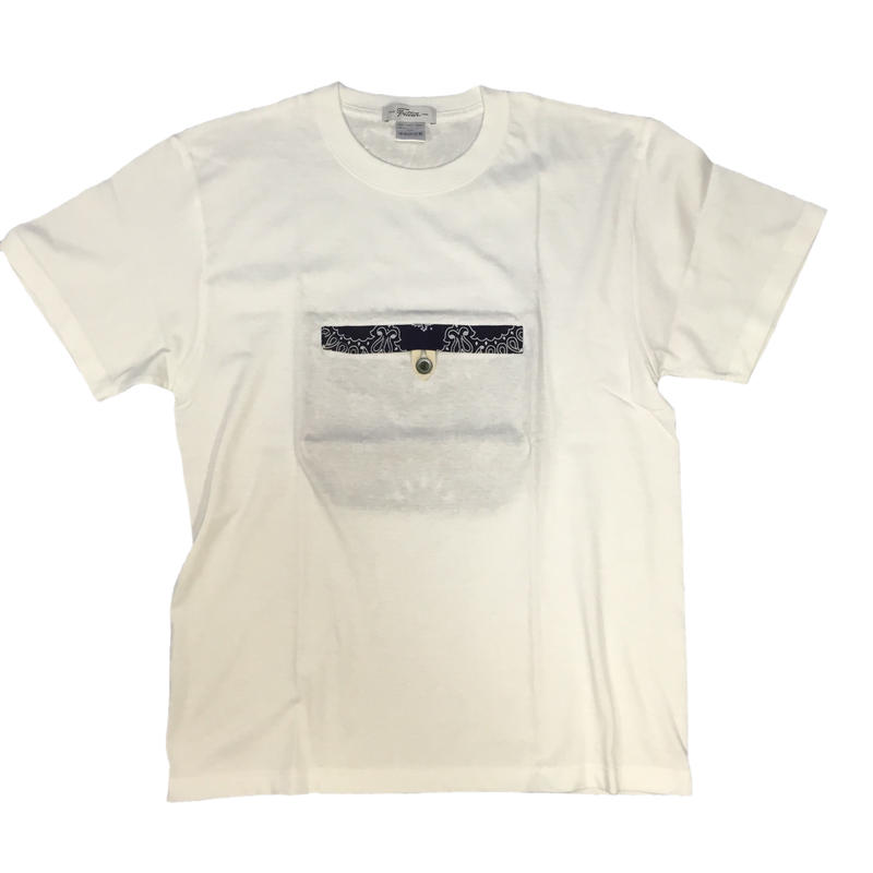 Pocketable T-sh Bandana White/NavyーM/L/XLサイズ