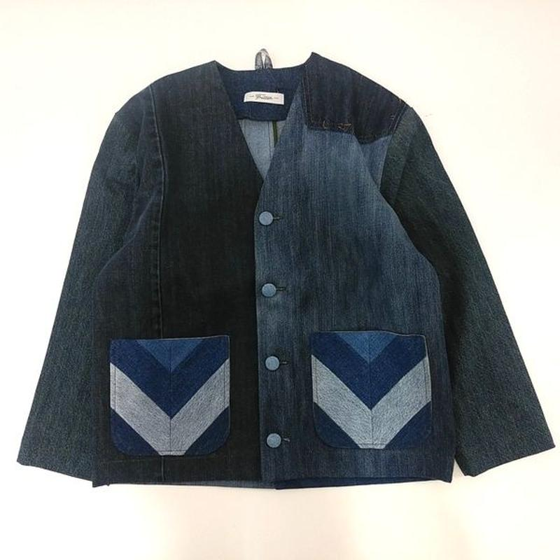 Denim No collar Jacket /Womans①/フリーサイズ