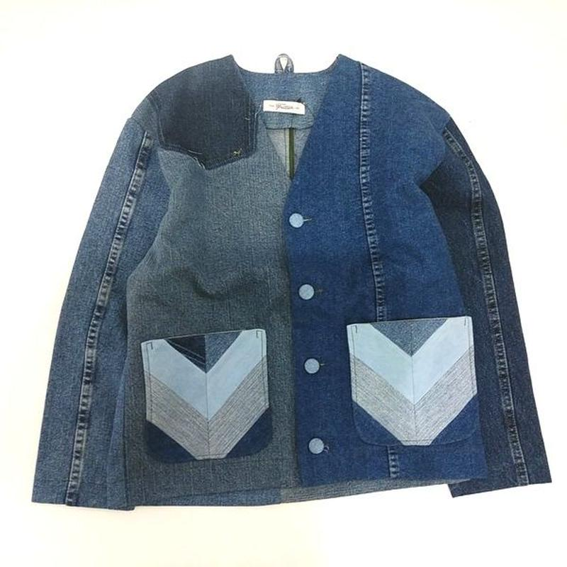 Denim No collar Jacket /Womans③