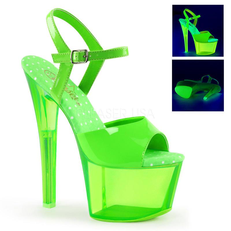 【お取り寄せ】【Pleaser】SKY-309UVT  Neon Green/Green Tintedブラックライト対応!プリーザ 厚底 ヒール サンダル キャバ