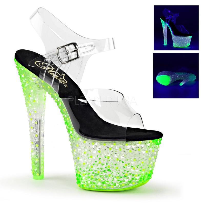 【お取り寄せ】【Pleaser】CRYSTALIZE-308PS  Clr/Neon Icy Green, ブラックライト対応!プリーザ 厚底 ヒール サンダル キャバ