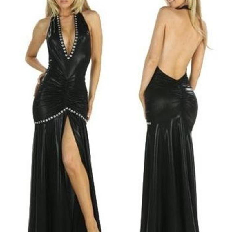 【LuxuryRose】豪華ビジュー*SEXY胸開き*スリット入り合皮ロングイブニングドレス