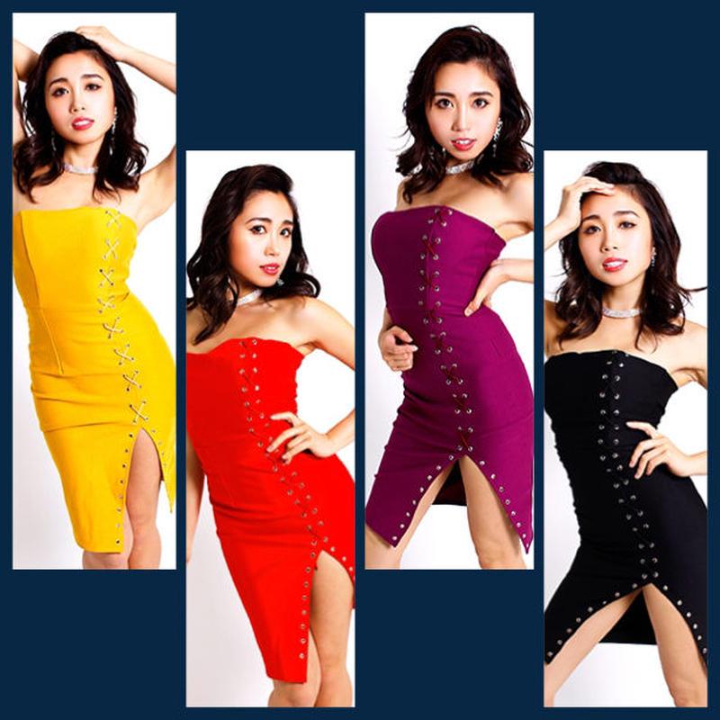 【LuxuryRose】スーパーストレッチ&ボディフィット☆SEXYスリット入り編み上げベアタイトミニドレス
