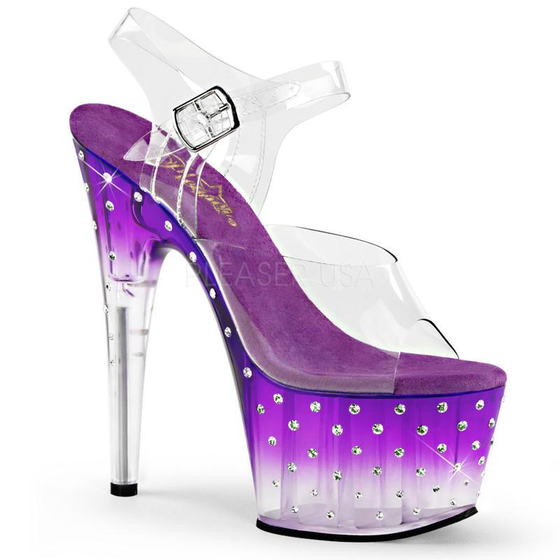 【お取り寄せ】【Pleaser】STARDUST-708T  Clr/Purple-Clr 透明感あるさわやかな印象! プリーザ 厚底 ヒール サンダル キャバ