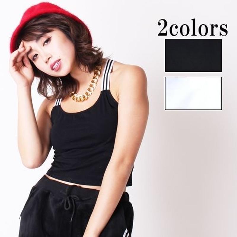 【LuxuryRose】全2色 ダンス コスチューム衣装 バッククロスのラインブラトップ