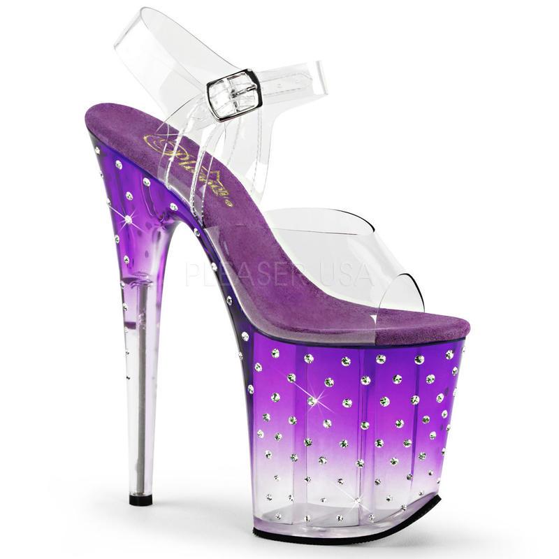 【お取り寄せ】【Pleaser】STARDUST-808T  Clr/Purple-Clr パステルSWEET!プリーザ 厚底 ヒール サンダルキャバ