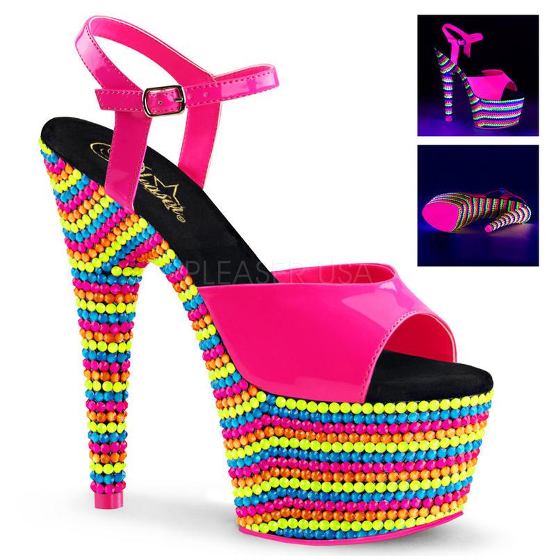 寄せ】【Pleaser】ADORE-709RBS Neon H. Pink Pat/Neon Multi,はじけるビタミンカラー!プリーザ 厚底 ヒール サンダル キャバ