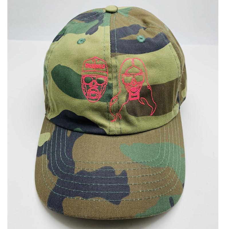 【World wide Famous】KIMYE カモフラ ネオンステッチ CAP