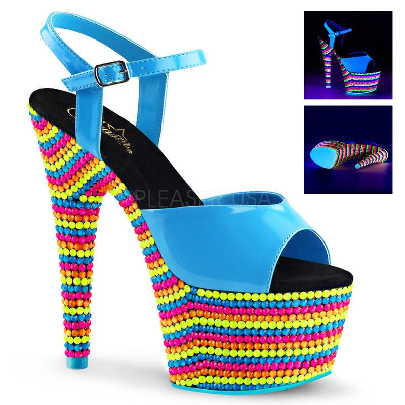 【お取り寄せ】【Pleaser】ADORE-709RBS  Neon Blue Pat/Neon Multi はじけるビタミンカラー!プリーザ 厚底 ヒール サンダル キャバ