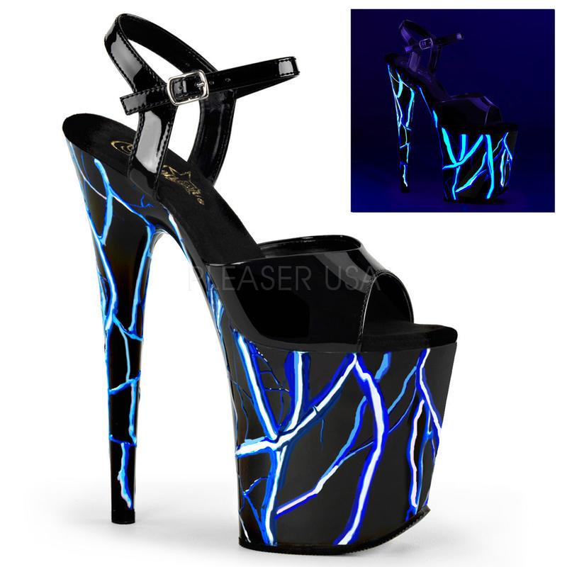 【お取り寄せ】【Pleaser】FLAMINGO-809NLB Blk/Blk-Neon Blue,稲妻がブラックライトで光る!プリーザ 厚底 ヒール サンダル キャバ