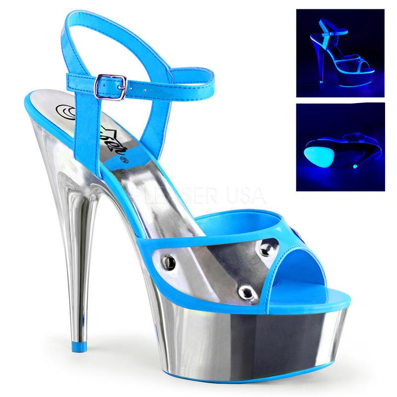 【お取り寄せ】【Pleaser】DELIGHT-609 NC Neon Blue/Slv Chrome ブラックライト対応!プリーザ 厚底 ヒール サンダル キャバ