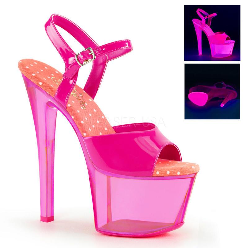 【お取り寄せ】【Pleaser】SKY-309UVT  Neon H. Pink/H. Pink Tinted,ブラックライト対応!プリーザ 厚底 ヒール サンダル キャバ