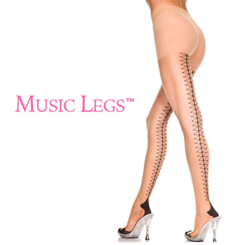 【MUSIC LEGS】 バックレースアッププリント  ストッキング
