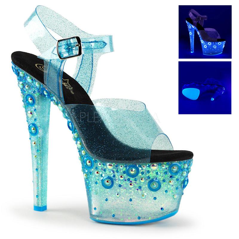 【お取り寄せ】【Pleaser】SKY-308UVMG  Blue Tinted TPU/Neon Blue ブラックライト対応!プリーザ 厚底 ヒール サンダル キャバ