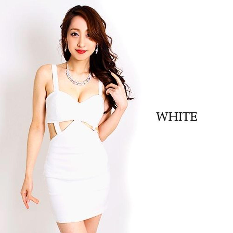【LuxuryRose】スーパーストレッチ&ボディフィット☆ボンテージ風SEXYカット入りタイトミニドレス