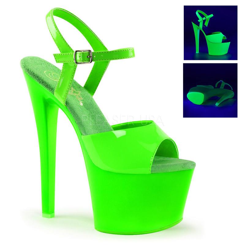 【お取り寄せ】【Pleaser】SKY-309UV  Neon Green/Green ブラックライト対応!プリーザ 厚底 ヒール サンダル キャバ