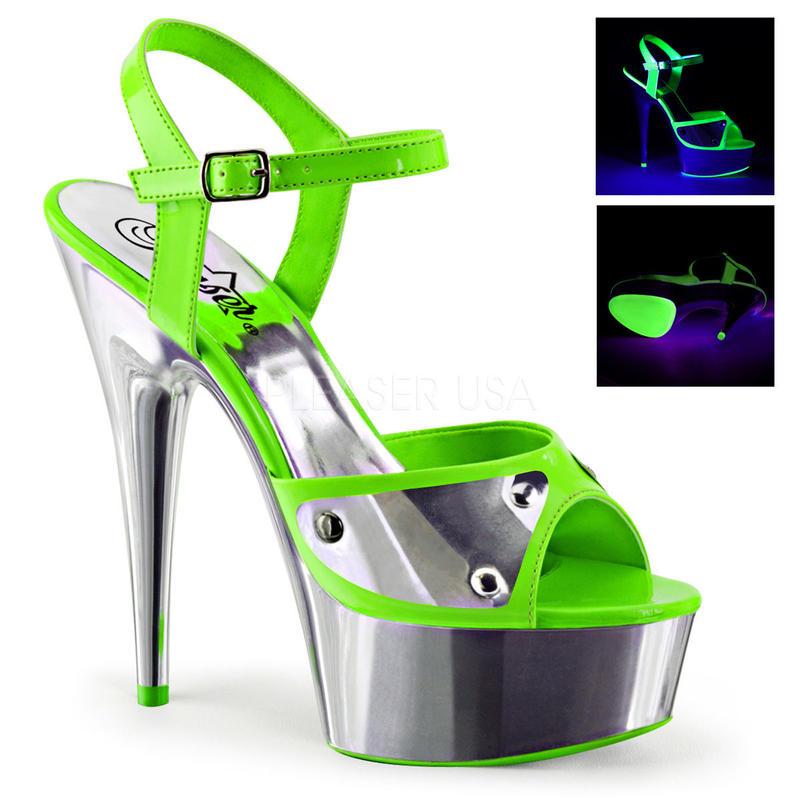 【お取り寄せ】【Pleaser】DELIGHT-609NC  Neon Green/Slv Chrome ブラックライト対応!プリーザ 厚底 ヒール サンダル キャバ