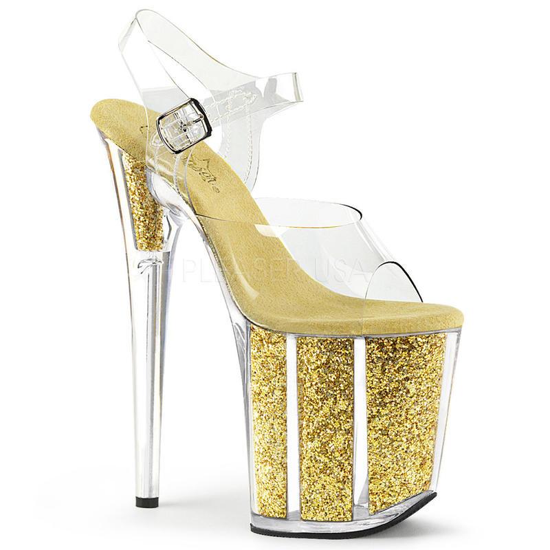 【お取り寄せ】【Pleaser】FLAMINGO-808G  Clr/Gold Glitter, グリッターラメ内臓で剥がれる心配なし!プリーザ 厚底 ヒール サンダル キャバ