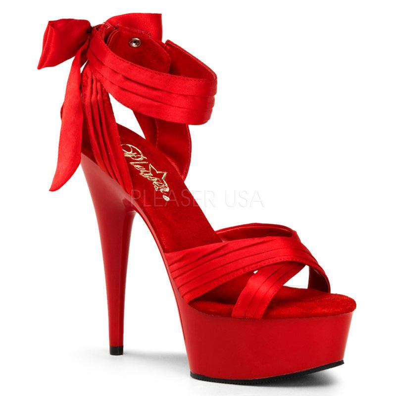 【お取り寄せ】【Pleaser】DELIGHT-668  Red Satin/Red, バックリボンがCUTE!プリーザ 厚底 ヒール サンダル キャバ
