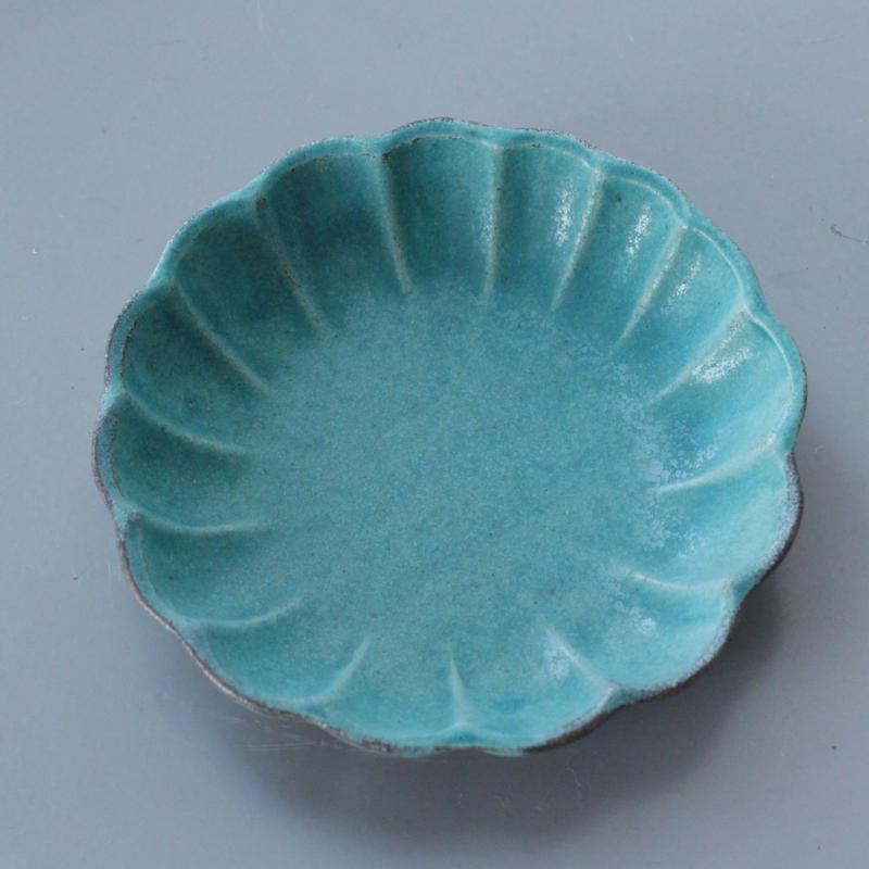 lefz-w-010 フラワーシェイプ ターコイズカラー 小皿