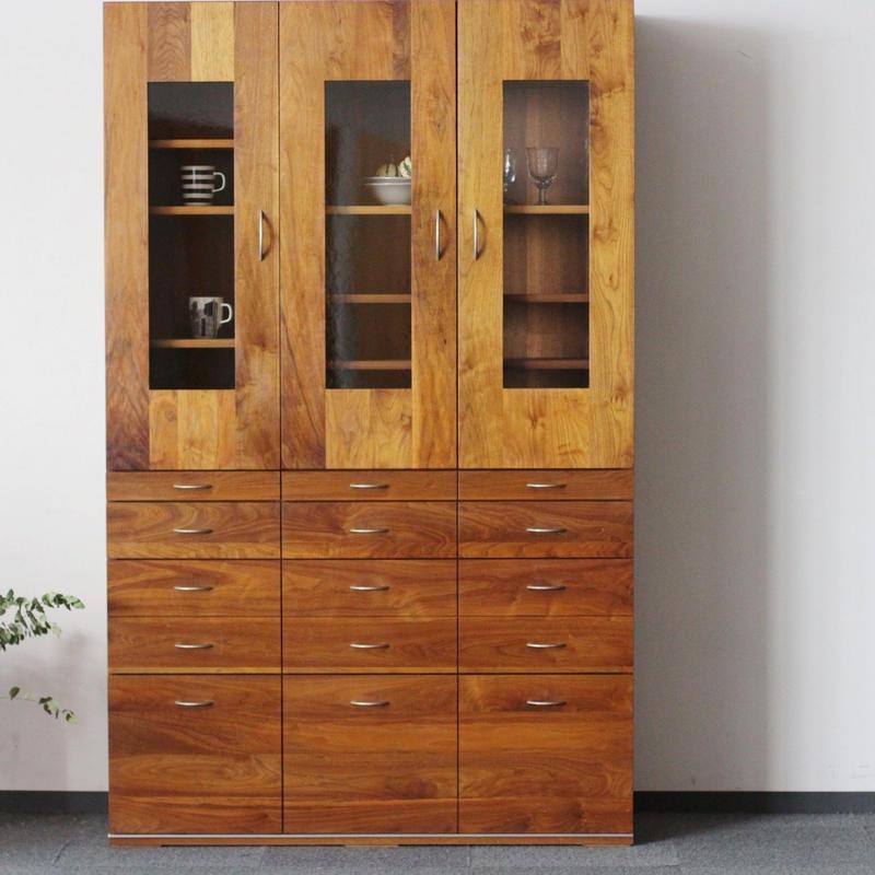 現品限り対象 Lv-HW0001  ボーテ3枚戸食器棚カップボード ウォールナット材
