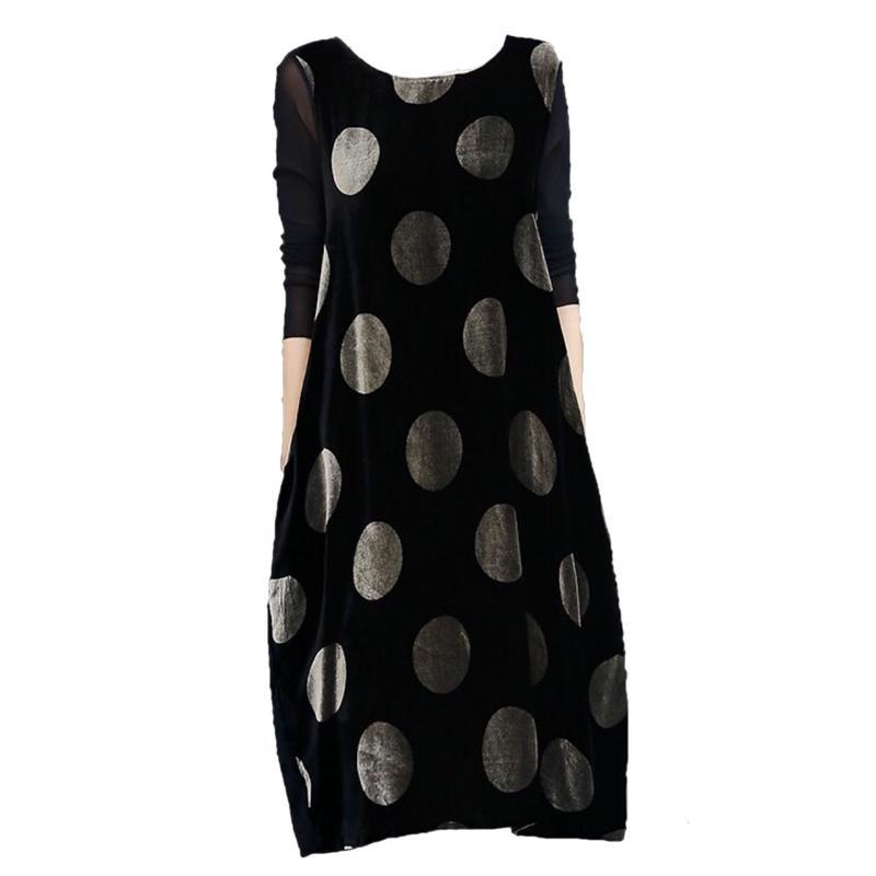 Velure polka-dot Dress  ドット柄ベロアワンピース