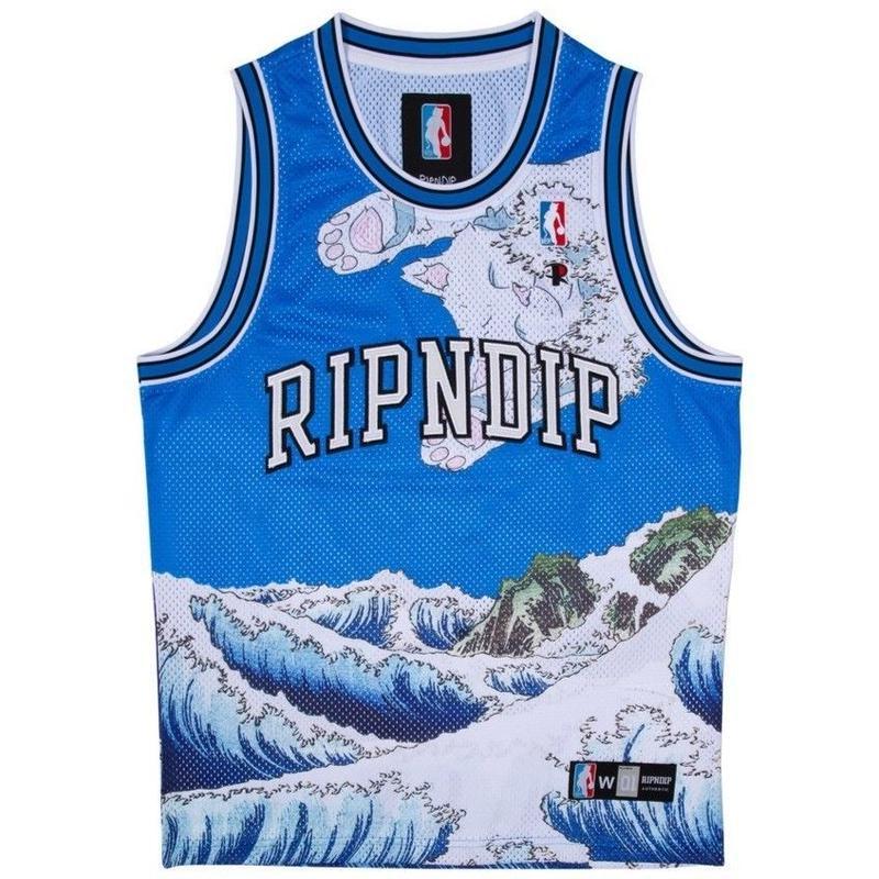 RIPNDIP Great Wave Mesh Basketball Jersey (Blue)