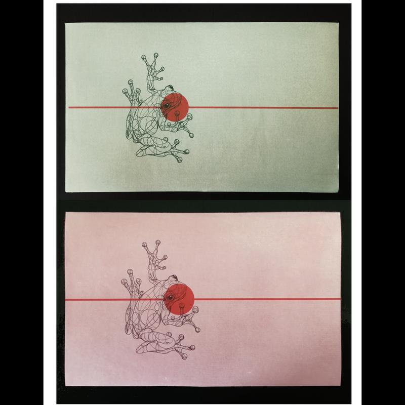 【ロウ引き紙ブックカバー】蛙B_文庫・新書サイズ対応