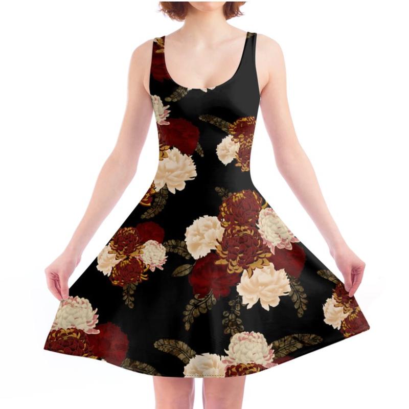 Chrysanthemum and Peony Skater Dress