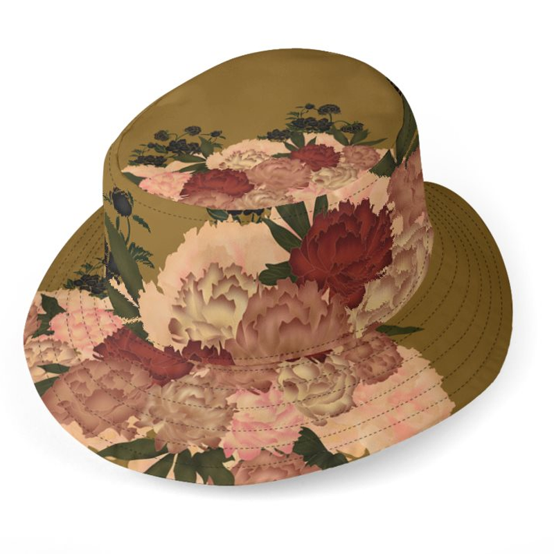 Peony flower art Bucket Hat