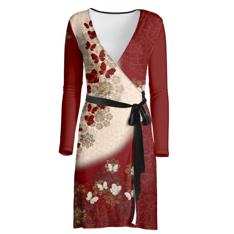 Japanese style Flower and Butterfly emblem art Wrap Dress