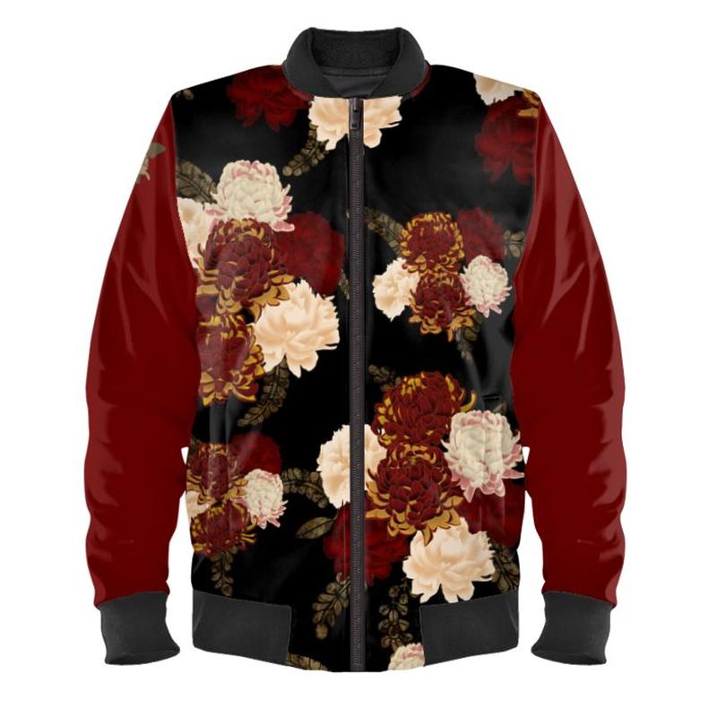 Chrysanthemum and Peony Ladies Bomber Jacket