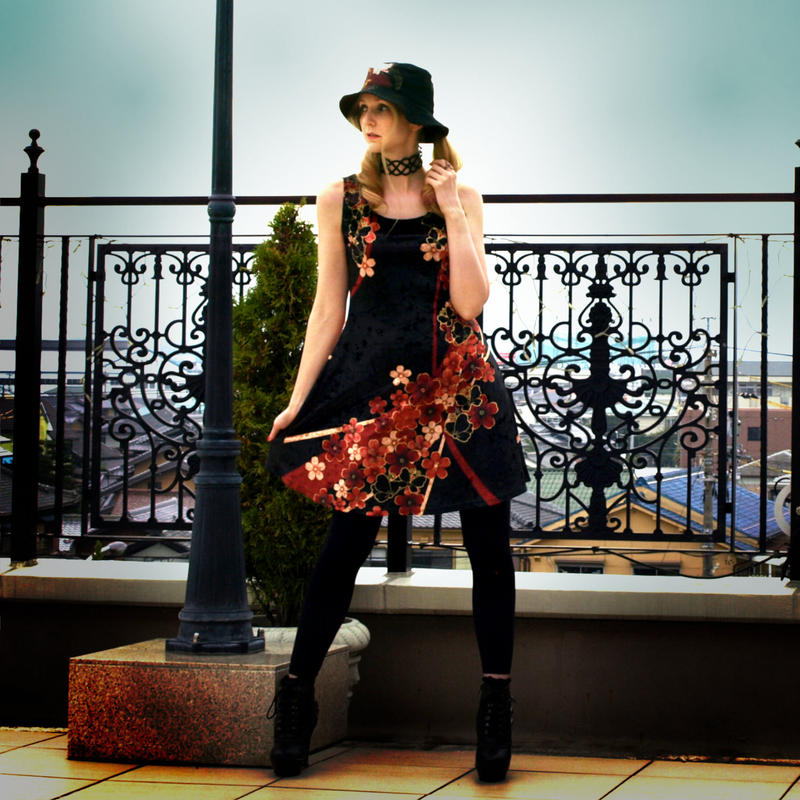 Japanesque Flower and Butterfly Skater Dress