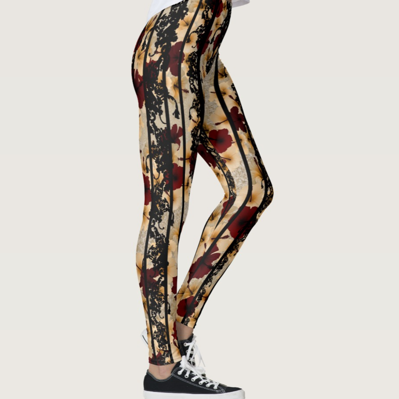 Hibiscus and Baroque decoration Leggings