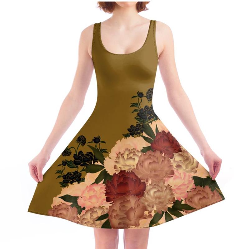 Japanese style Peony design Skater Dress