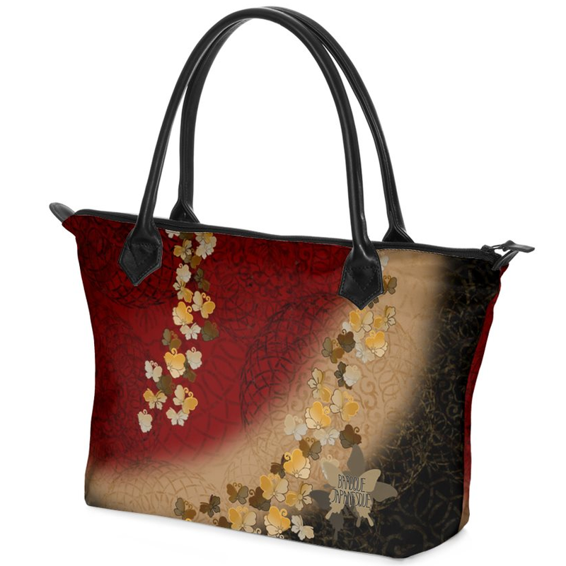 Japanesque butterfly emblem art Zip Top Handbag